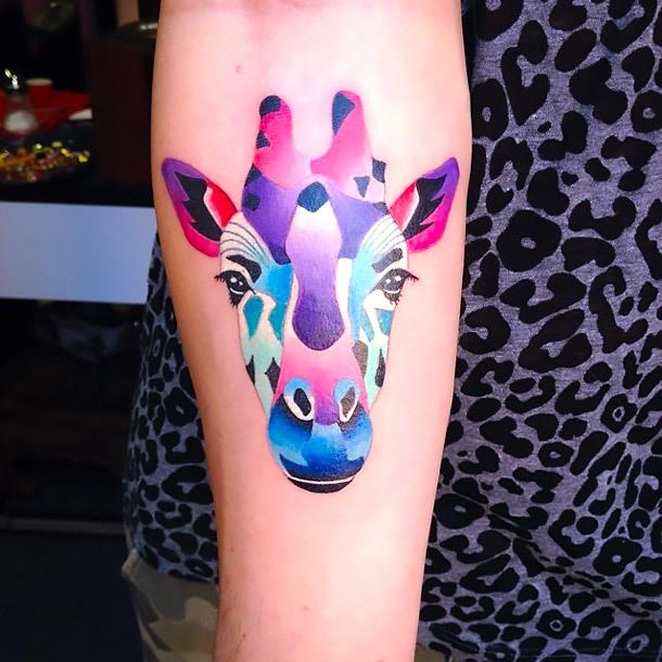 Colorful Giraffe Head Tattoo Idea