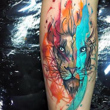 Amazing Colorful Lion Head Tattoo