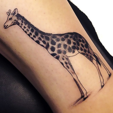 Elegant Girly Giraffe Tattoo