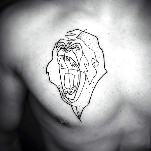 Fine Line Gorilla Tattoo on Chest Tattoo Idea