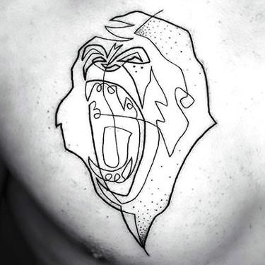 Fine Line Gorilla Tattoo on Chest Tattoo