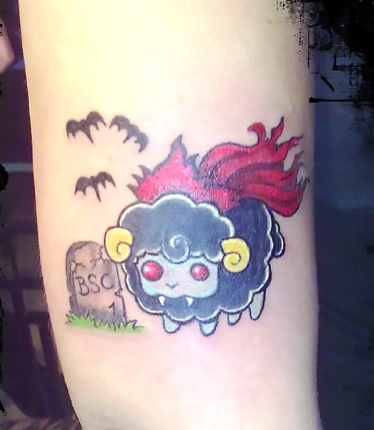 Funny Cute Sheep Tattoo Idea