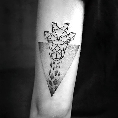 Great Geometric Giraffe Tattoo Idea