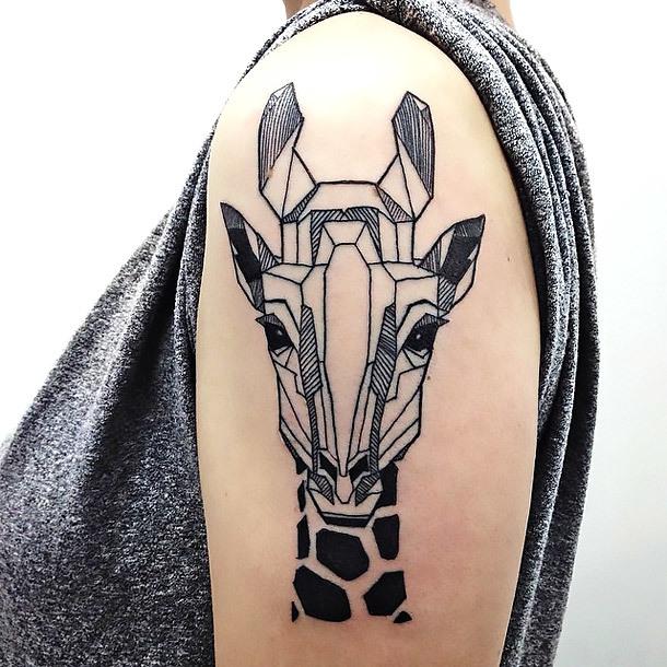 Geometric Giraffe Tattoo for Girls Tattoo Idea