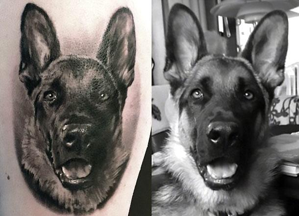 Amazing Dog Portrait Tattoo Idea