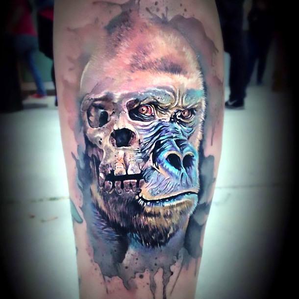 Gorilla and Skull Tattoo Idea