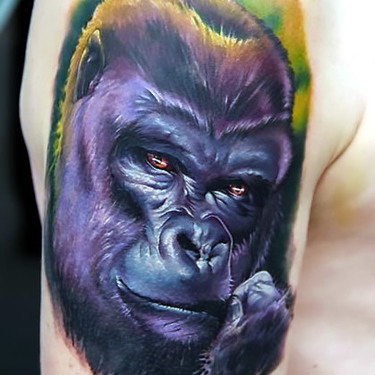 Gorilla Face Tattoo on Shoulder Tattoo