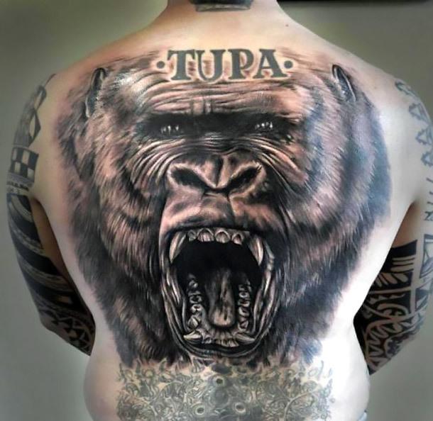 Gorilla Tattoo on Back Tattoo Idea