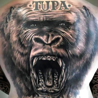 Gorilla Tattoo on Back Tattoo