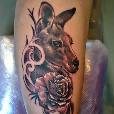 Kangaroo Tattoo on Shin Tattoo