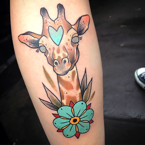 Lovely Giraffe Head Tattoo Idea