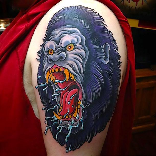 Neo Traditional Gorilla Tattoo Idea