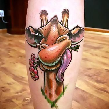 New School Giraffe Tattoo