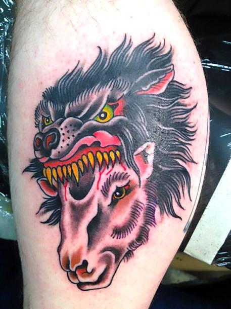 Old School Wolf Sheep Head Tattoo Idea