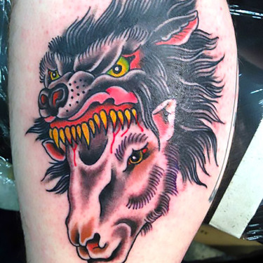 Old School Wolf Sheep Head Tattoo