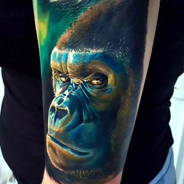 Realistic Gorilla Tattoo