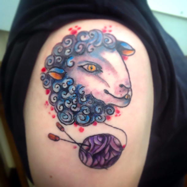 Sheep Tattoo on Shoulder Tattoo Idea