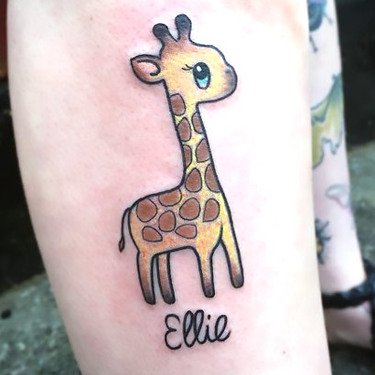 Small Cute Giraffe Tattoo