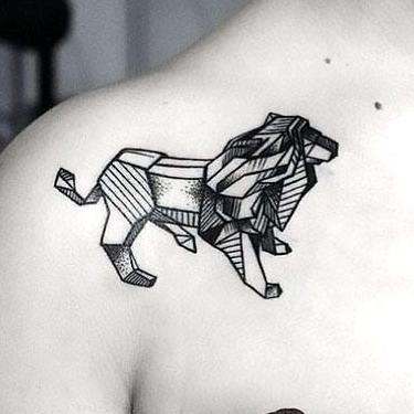 Amazing Geometric Lion Tattoo