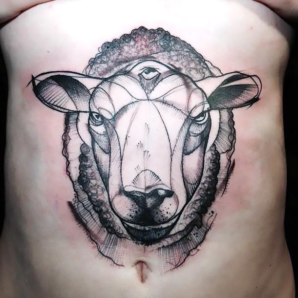 Three Eyed Sheep Tattoo Idea