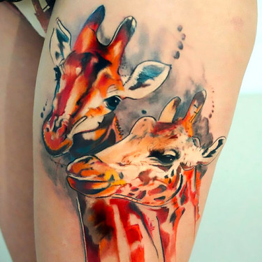 Two Giraffe Heads Tattoo