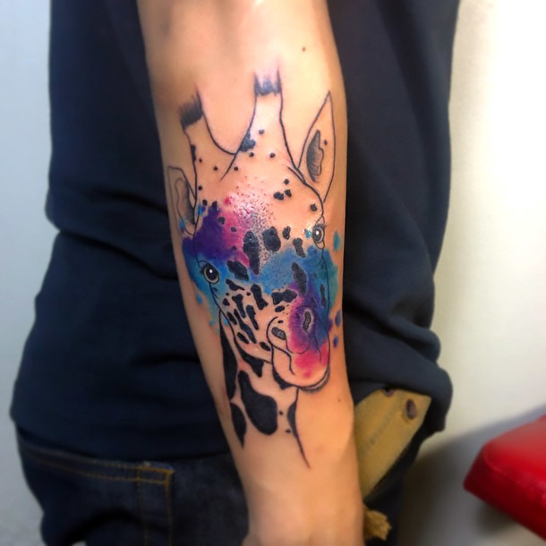 Watercolor Giraffe Tattoo Idea