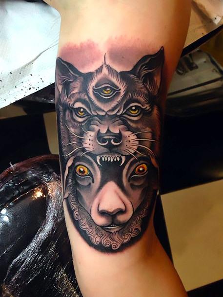 Wolf and Sheep Faces Tattoo Idea