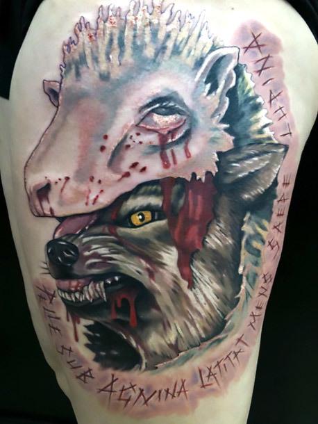 Wolf Sheep Female Tattoo Idea