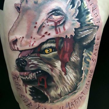 Wolf Sheep Female Tattoo