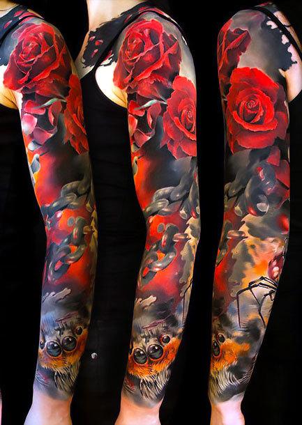 Roses Sleeve Tattoo Idea