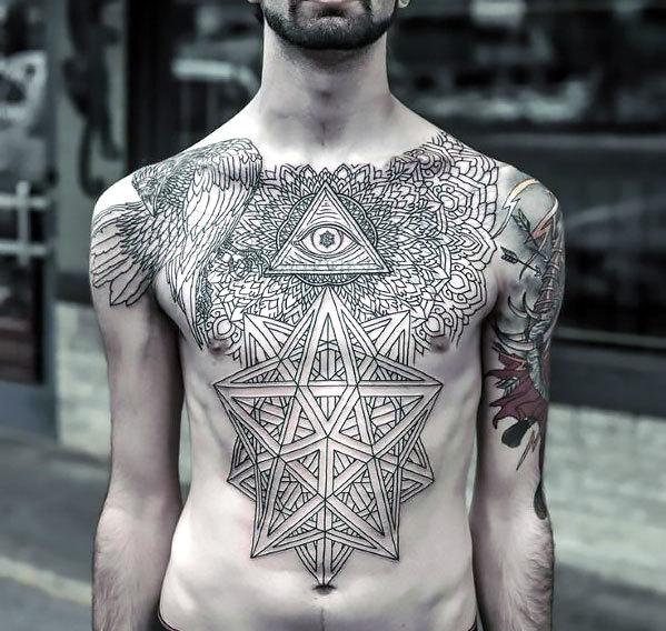 Sacred Chest for Men Tattoo Idea