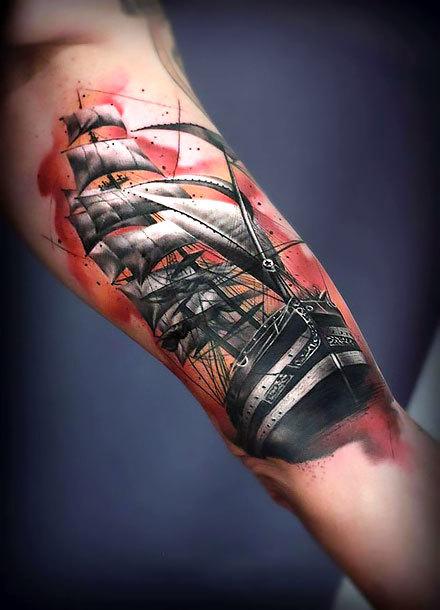 Sailing Ship on Bicep Tattoo Idea