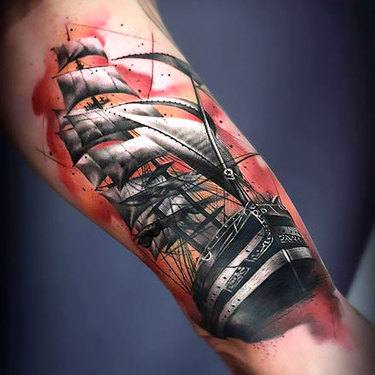 Sailing Ship on Bicep Tattoo