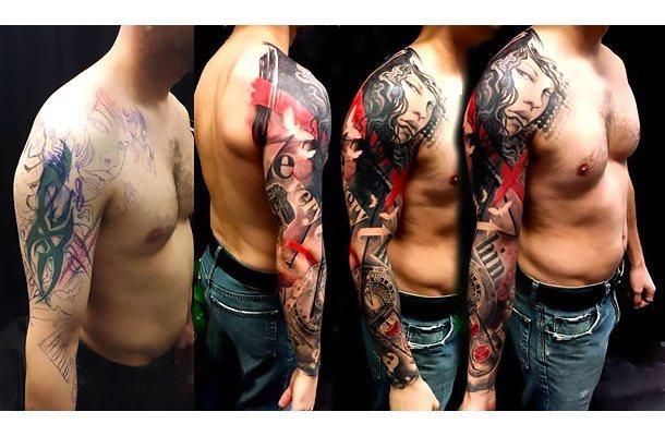 Sleeve Cover Up Tattoo Idea