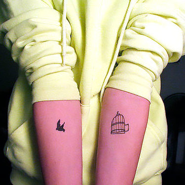 Small Birdcage and Bird Tattoo