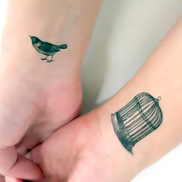 Small Birdcage on Wrist Tattoo