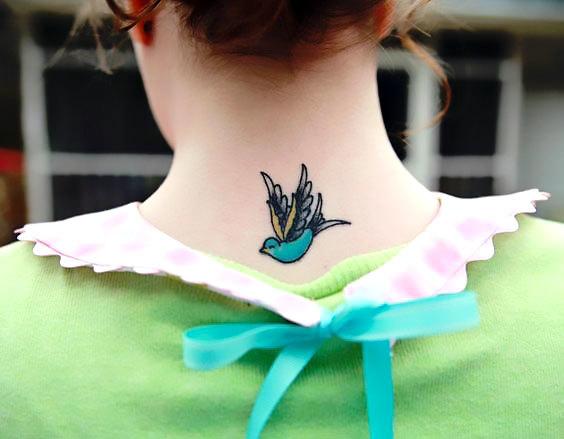 Small Swallow on Neck Tattoo Idea