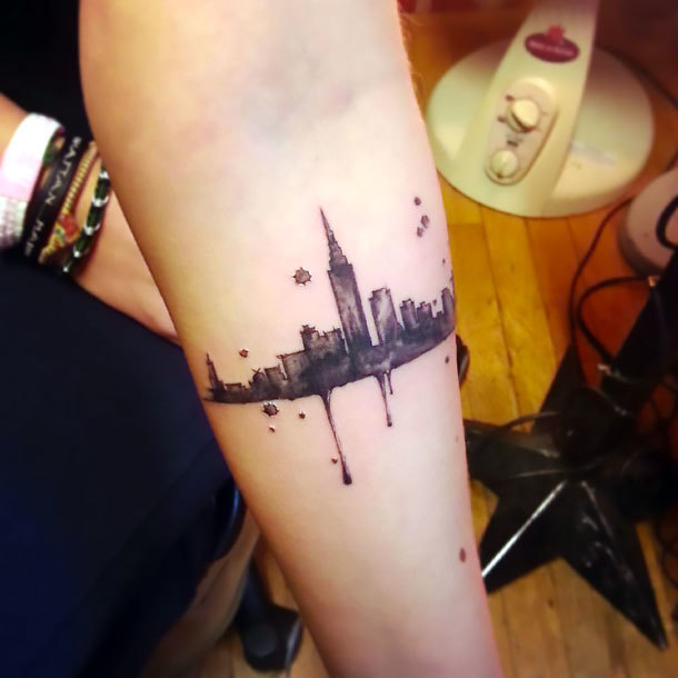 Small New York on Forearm Tattoo Idea