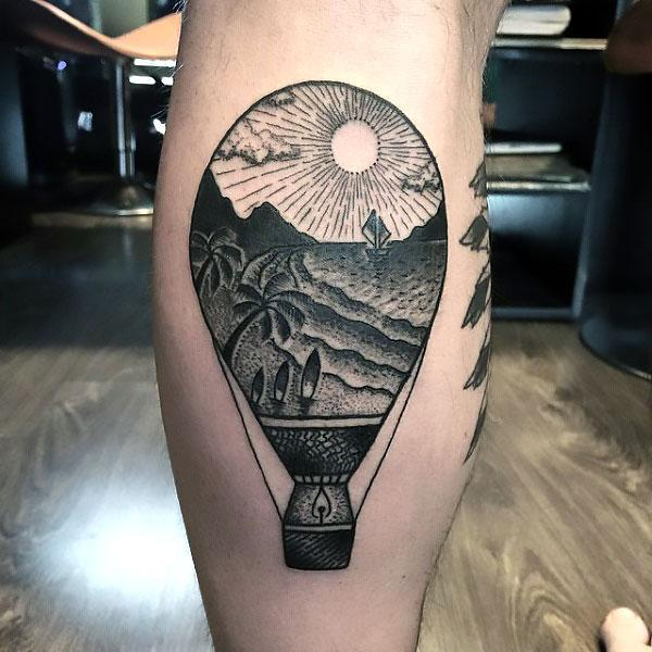 Hot Air Balloon on Calf Tattoo Idea