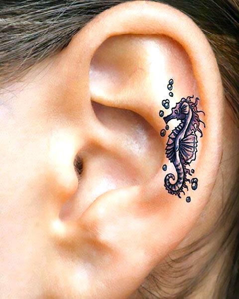 Small Seahorse Ear Tattoo Idea