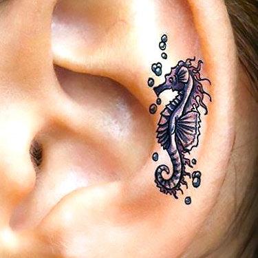Small Seahorse Ear Tattoo