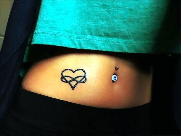 Heart Infinity Small Stomach Tattoo Idea