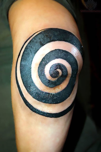 Spiral on Elbow Tattoo Idea