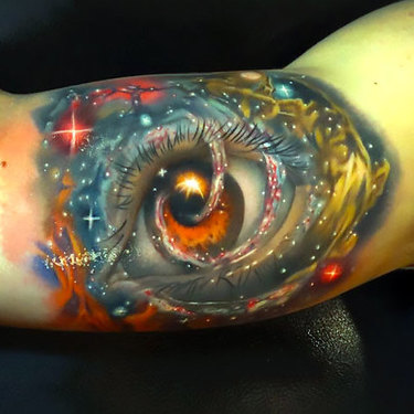 Space Eye on Bicep Tattoo