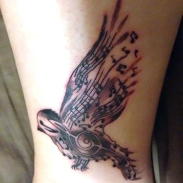 Songbird on Leg Tattoo
