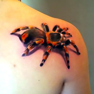 Spider on Back Shoulder Tattoo