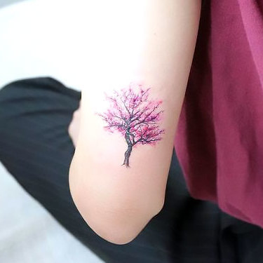 Small Purple Tree Tattoo