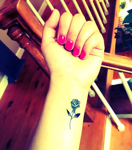 Small Rose on Wrist Tattoo Idea