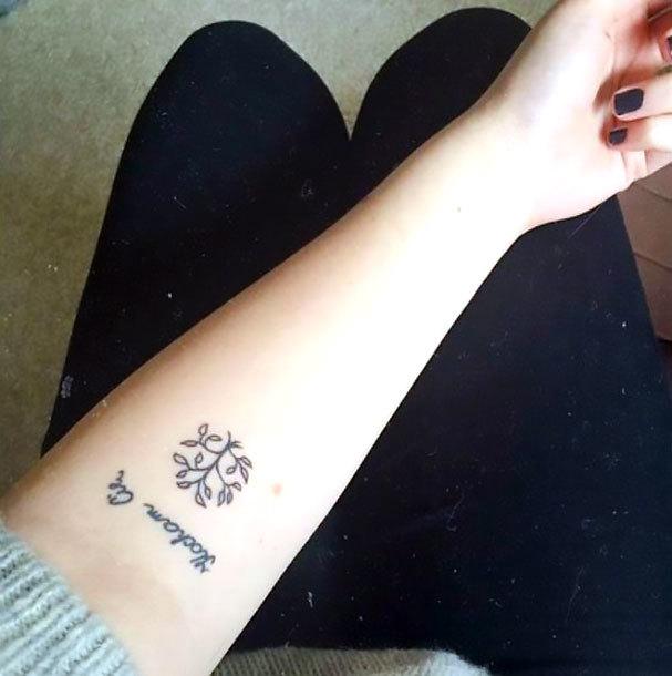 Small Tree on Forearm Tattoo Idea