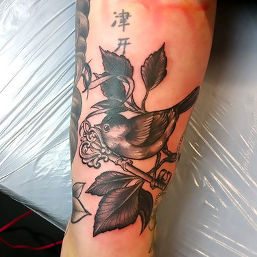 Sparrow With Key Tattoo
